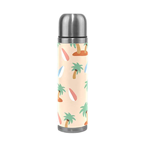 Jojogood Hawaii Elements Pattern Stainless Steel Water Bottle Leak-Proof Vacuum Insulated Flask Pot Sport Double Wall PU Leather Travel Thermos Mug for Hot and Cold Drinks Coffee or Tea 17 oz by Jojogood