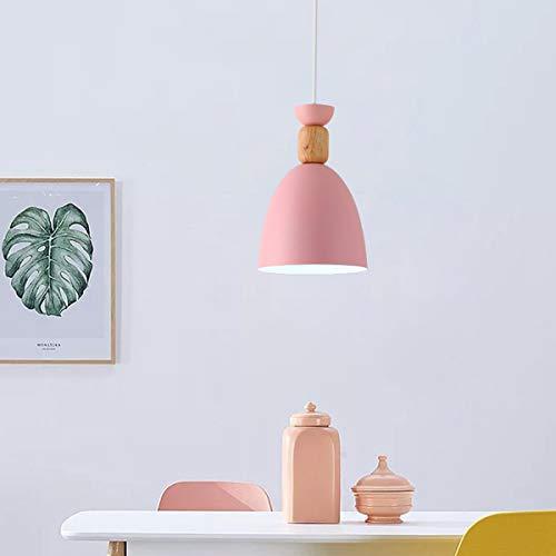 NANGE Macaron Chandelier, Wood Metal Suction Cups Pendant Lighting,Restaurant Home Dining Table Hanging Lamp,E27,110-220V(Without Light Source) (Color : Pink, Size : AC 220V) by NANGE (Image #3)