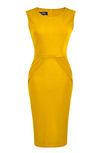 HCMY Wear To Work Sleeveless Midi Evening Dresses for Women Party Formal Yellow L