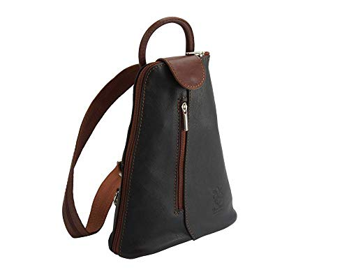2001 Dos Noir marron Sacs Sac Michela Transformable Cuir Market À Florence En Leather wgqIOx68