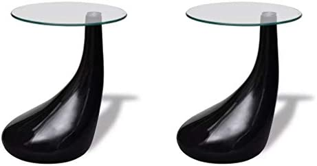 vidaXL Set of 2 Side Coffee End Table High Gloss Black Base Tempered Glass Top