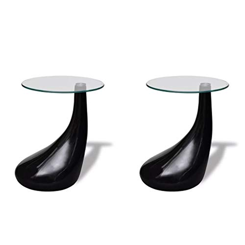 vidaXL Set of 2 Side Coffee End Table High Gloss Black Base Tempered Glass Top (Only Table End Base)