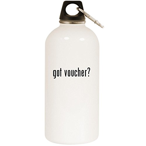 got voucher? - White 20oz Stainless Steel Water Bottle with Carabiner