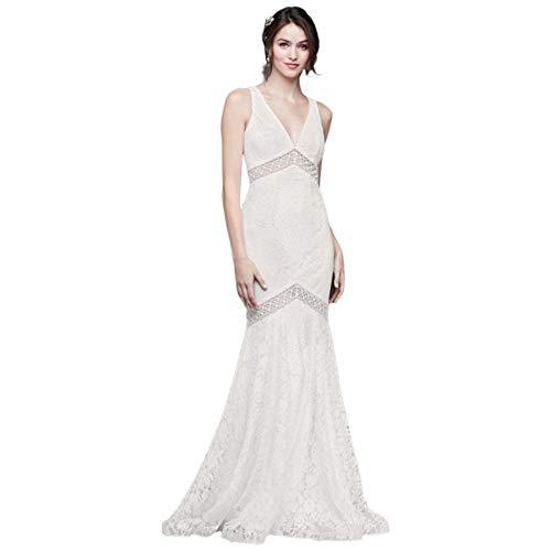 V-Neck Lace Illusion Mermaid Wedding Dress Style WG3950, Soft White, 0