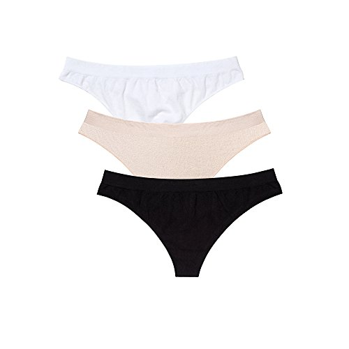 fc26b3edda44 Women's Cotton Thong Underwear Seamless Panties Breathable Bikini Panties 3  Pack (black,white,nature) S - Buy Online in Oman. | Apparel Products in  Oman ...