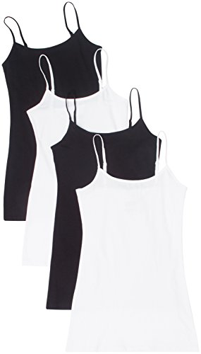 4 Pack Active Basic Women Basic Tank Tops,Black/Black/White/White,Large