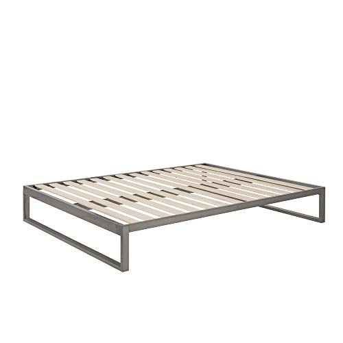 Mínimo - Industrial Gunmetal 12 Inch Metal Bed Frame, Mattress Foundation, Platform Bed, Wood Slat Support, No Boxspring Needed (Cal King)