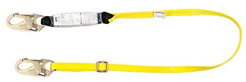 MSA 10113158 Workman Single-Leg Energy-Absorbing ANSI-Certified Lanyard with 36C Snap Hooks, 6-Feet Line - Leg Single Workman Shock