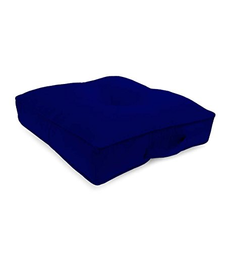 Classic Polyester Outdoor Tufted Floor Cushion With Handle, 20'' sq. x 4'' - Midnight Navy