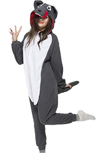 NEWPJS Grey Wolf Onesie Adult Women Men Halloween