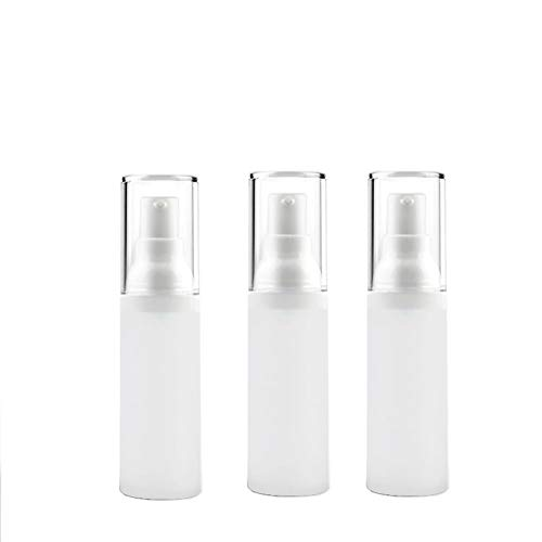 3PCS 30ml/1oz Empty Frosted Plastic Vacuum Pump Press Bottle Portable Refillable Travel Packing Storage Cosmetic Containers Jar Pot Vial For Essence Lotion Liquid Foundation