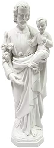 25.5 Saint St Joseph with Holy Child Jesus Baby Catholic Religious White Statue Sculpture Vittoria Collection Made in Italy