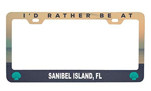 R and R Imports Sanibel Island Florida Sea Shell Design Souvenir Metal License Plate Frame