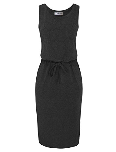 Tom's Ware Women Stylish Sided Slits Elasticized Waist Midi Dress TWCWD089A-CHARCOAL-US (Drawstring Dress)