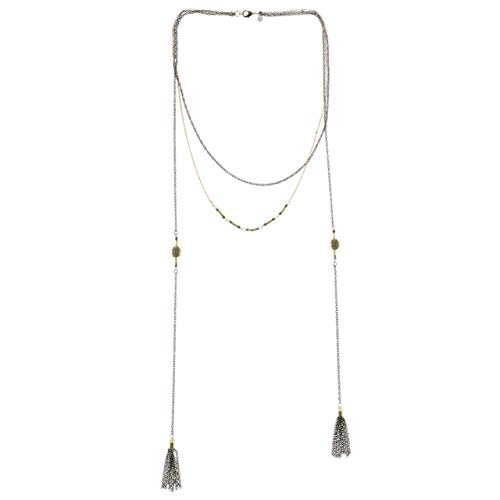 Mi Amore Tassel Layered-Necklace Silver-Tone/Gold-Tone from Mi Amore