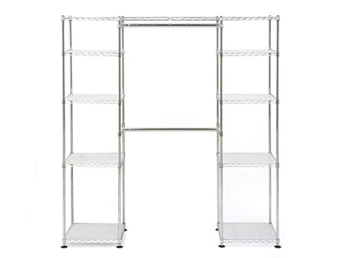 "Seville Classics 14"" Deep Heavy Duty Steel Wire Expandable Closet Organizer - Bedroom Space Saving - Free Standing Cloth Rack - Adjustable Height of Shelves, Hanging-rods and Width - 10 Years Limited Warranty"