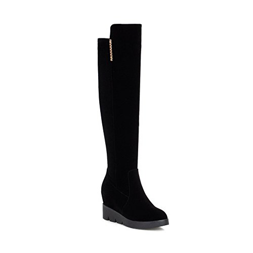AllhqFashion Womens Round Closed toe PU Zipper High Heels Above-the-knee Boots Black