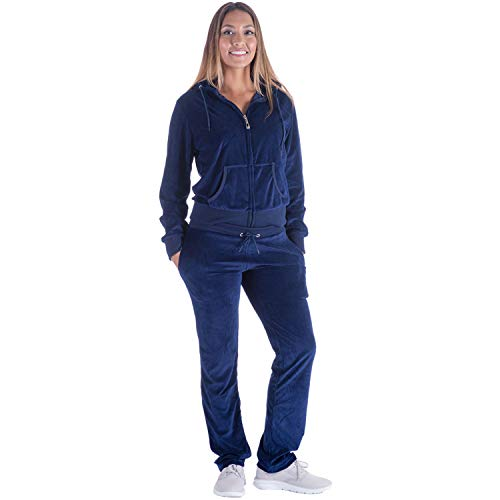 Pants Velour Hoodie - TanBridge Women Velour Tracksuit Set 2 Piece Outfit Hoodie & Sweatpants Jogger Sets Navy M