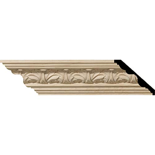 Ekena Millwork MLD02X02X03ACCH 2 1/8-Inch H x 2 3/8-Inch P x 3 1/4-Inch F x 96-Inch L Acanthus Leaf Carved Wood Crown Moulding, Cherry