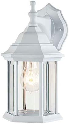 NOMA Six-Sided Outdoor Wall Lantern Waterproof Outdoor Down-Facing Exterior Light for Front Door, Backyard, Garage, Patio or Decor White Finish with Clear Glass Panels