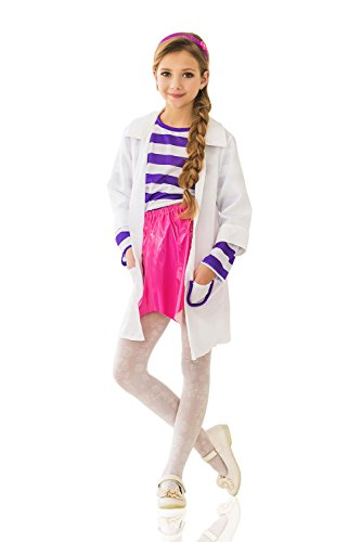 Kids Girls Medical ER Doctor Doc Nurse Lab Coat Costume Show & Cosplay Dress Up (8-11 years, White/Rose)