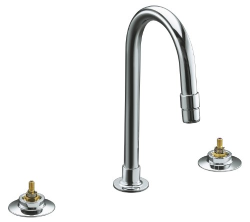 KOHLER K-7313-KE-CP Triton Widespread Lavatory Base Faucet with Rigid Connections and Vandal-Resistant Aerator, Requires Handles, Less Drain, Polished Chrome
