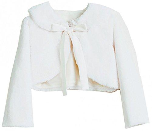Price comparison product image BNY Corner Big Girl Long Sleeve Ribbon Faux Fur Dress Coat Flower Girl Bolero Jacket USA Ivory 8 SK C35