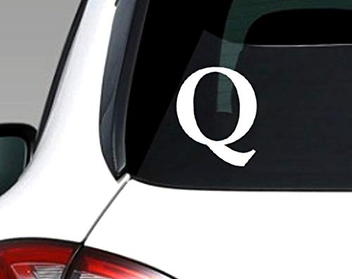 White Vinyl Q Shaped Sticker (qanon Anon Conservative Trump Love)