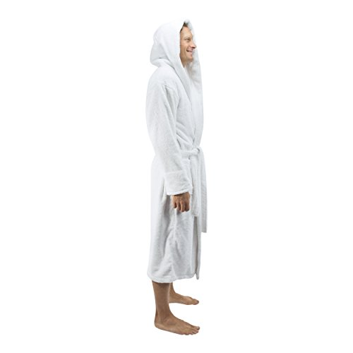 Comfy Robes Personalized Men's Deluxe 20 Oz. Turkish Cotton Hooded Bathrobe, XXL White by Comfy Robes (Image #4)