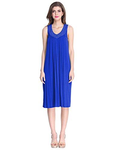 LAPAYA Women's Summer Beach Dress Studded V Neck Resort Wear Swimsuit Cover Up, Royal Blue, Free (Blue Dress Ups)