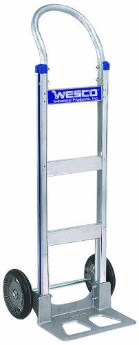 (Wesco 220322 Series 410 Cobra-Lite Aluminum Hand Truck with Continuous Handle, Pneumatic Wheels, 600-lb. Load Capacity, 18