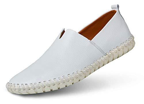 JIYE Men's Genuine Leather Loafer Shoes Slip On Soft Walking Driving Shoes,White,41EU=8.5 M US
