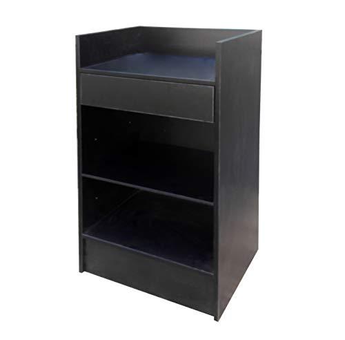 FixtureDisplays Black Cash Wrap Cash Register Stand w/Adjustable Storage Shelf -