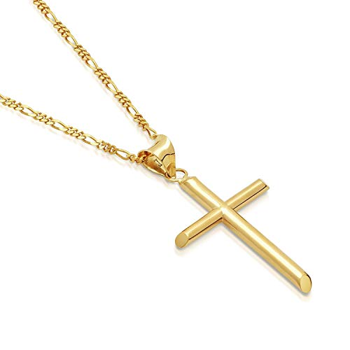 DAYA Empire 14K Gold Figaro Chain Style Cross Pendant Necklace Solid Clasp for Men,Women,Teens and Children Thin for Charms Choose Length 18