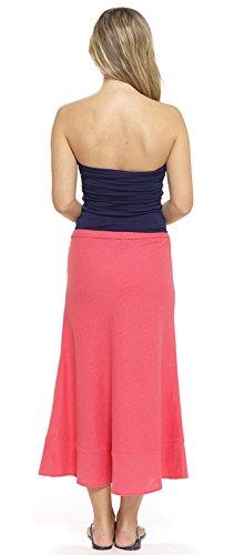 femmes lin 18 Cravate t Maxi jupe Vacances UK Corail Dora taille 10 jupe Ceinture femmes Lora longue wCEqpfPw