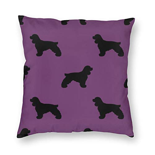 Decorative Square Throw Pillow Covers Cocker Spaniel Silhouette Fabric - Dogs Design - Purple_837 Cushion Case for Sofa Bedroom Car 18 x 18 Inch 45 x 45 cm