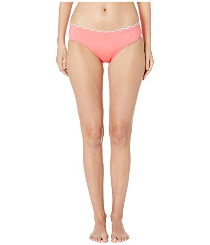 Kate Spade New York Women's Contrast Scalloped Hipster Bikini Bottoms Bright Peony Medium