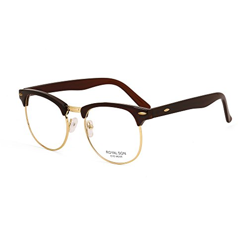Royal Son Full Rim Round Spectacle Frame For Men And Women (RS003SF|52|Transparent Lens)