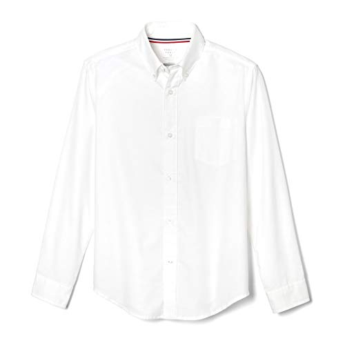 French Toast Big Boys' Long Sleeve Oxford Dress Shirt, White, 14 (Boys Big White Shirt)