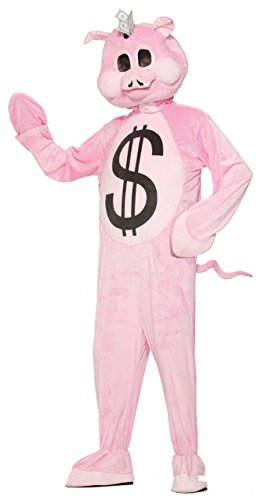 Forum 76244 Men's Mascot Piggy Bank Costume, One Size, Multicolor, Pack of -