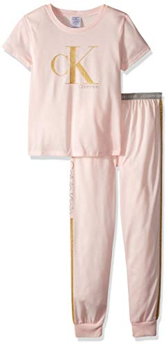 Calvin Klein Girls' Little 2 Piece Sleepwear Top and Bottom Pajama Set Pj, Crystal Pink, Large-10/12