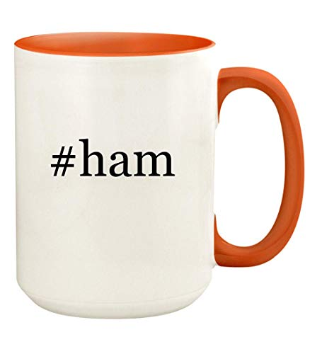 #ham - 15oz Hashtag Ceramic Colored Handle and Inside Coffee Mug Cup, - Orange Glaze Ham