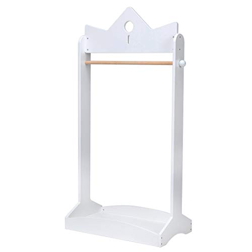 (JOLIE VALLÉE TOYS & HOME 2-in-1 Kids Wood Armoire Wardrobe Crown Clothes Rack, White Baby Clothes Storage Rack Standing Closet, Boutique Clothes Rack Organizer for Toddler Girls 2-5 Years)