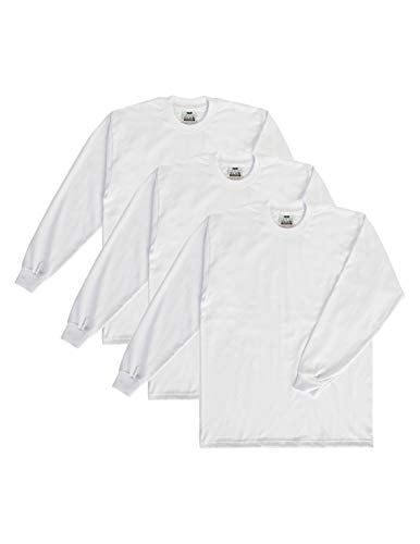k Heavyweight Cotton Long Sleeve Crew Neck T-Shirt, White, X-Large ()