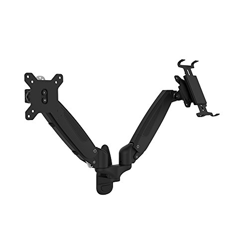 OLLO: Twin Wall Mounted Gas Spring Monitor Mounts with iPad Holder, Snap-on Head, +90º/-85º Tilt, 180º Rotation, 0-18 Lbs. Each Arm, Black, Fits Most 15-27'' ( WA-2P) by OLLO