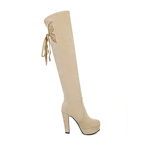 Pull Heels Allhqfashion On Boots Beige High High Top Frosted Women's Solid 5wqTqFIgp
