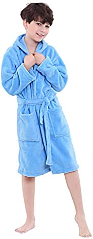 OUFANG Boys Girls Robe Kids Hooded Bathrobe Multicolors Unisex Sleep Bath Robe Sleepwear