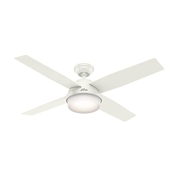 "Hunter Dempsey Indoor / Outdoor Ceiling Fan with LED Light and Remote Control, 52"", White 1 MODERN CEILING FAN: The contemporary Dempsey fan comes with LED light covered by cased white glass that will keep home interior and exterior current and inspired; Measures 52 x 52 x 13.63 Inch MULTI-SPEED REVERSIBLE FAN MOTOR: Whisper Wind motor delivers ultra-powerful airflow with quiet performance; Change the direction from downdraft mode during the summer to updraft mode during the winter LED LIGHT KIT: Energy-efficient dimmable LED light bulbs let you control the lighting and ambiance of the living space; The long lasting bulbs have longer lifespan than traditional bulbs"