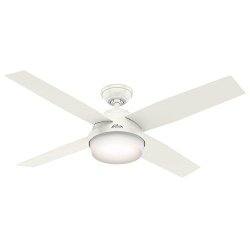 Hunter 59252 Contemporary Dempsey Damp Fresh White Ceiling Fan With Light & Remote, 52