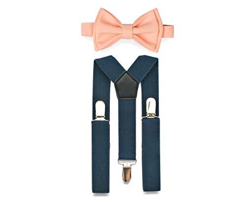 Navy Suspenders Bow Tie Set for Baby Toddler Boy Teen Men (1. Baby (6-18 mo), Navy Suspenders, Peach Bow Tie)